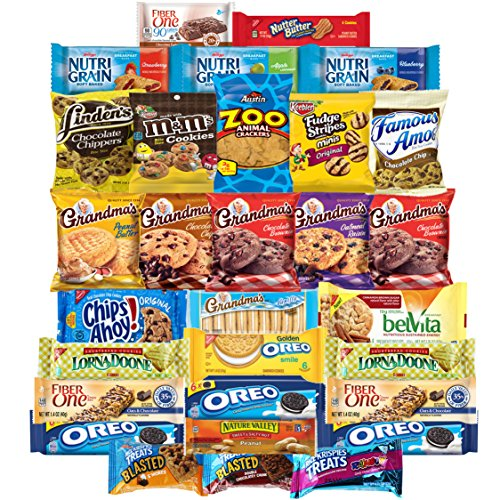 Sweet Cookies, Crackers & Snacks Care Package Variety Pack Bundle Includes Grandmas Cookies, Oreos, Chips Ahoy, Rice Krispies, Keebler & More Bulk Sampler (30 Count) by Custom Varietea