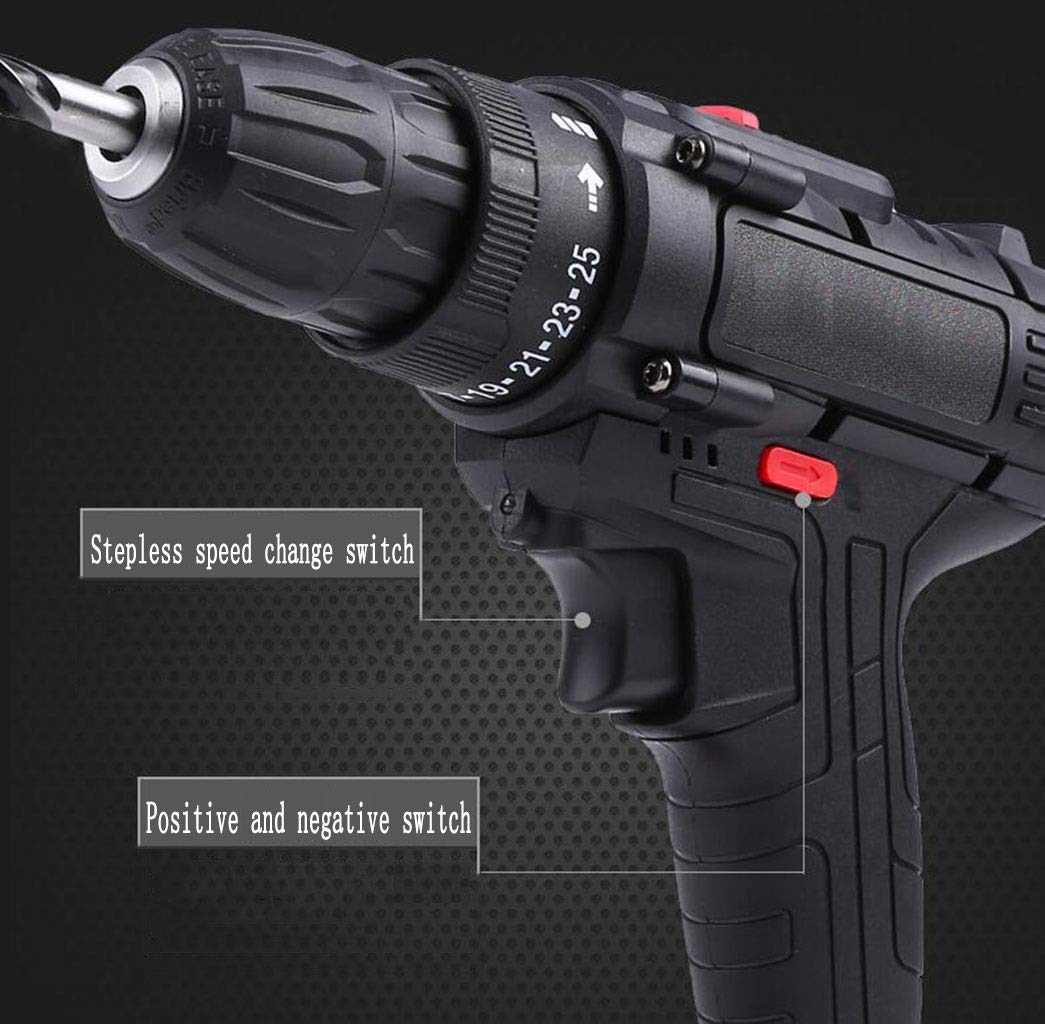 Color : Black1 GHGJU Electric Drill Household Electric Screwdriver Rechargeable Pistol Drill Multi-Function Positive and Negative Hand Drill Toolbox for Home Tools