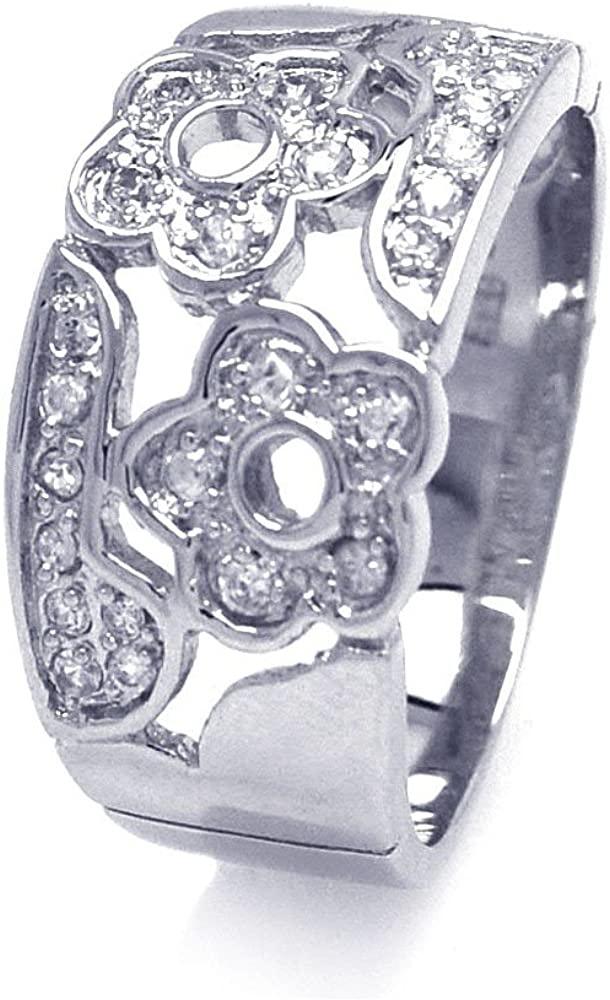 Princess Kylie Pave Set Cubic Zirconia Flower Designer Ring Rhodium Plated Sterling Silver
