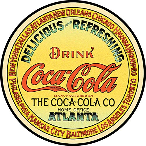 Coca Sign Cola Coca Cola Round Keg Label Tin Sign 11.8 Diameter Sweet Bottle Metal Home Aign Yellow Collectible Freestyle Decor Coke Vintage Antique Machine Small Sings A Retro With Collectable