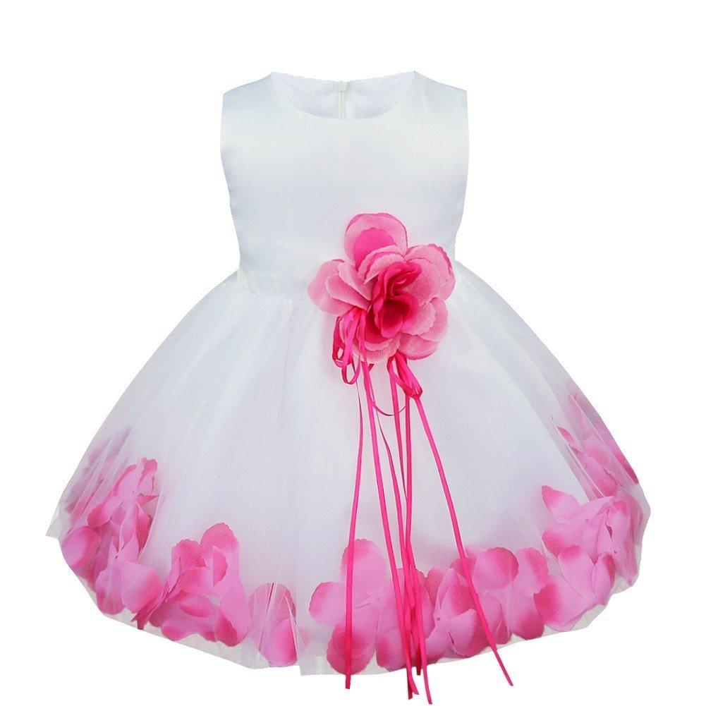 TIAOBU Baby Girls Flower Petals Tulle Formal Bridesmaid Wedding Party Dress Hot Pink 9-12 Months