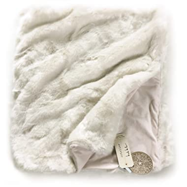 Nicole Miller Mink Faux Fur Throw, Luxury Plush Blanket in Brown White or Silver Gray (White)