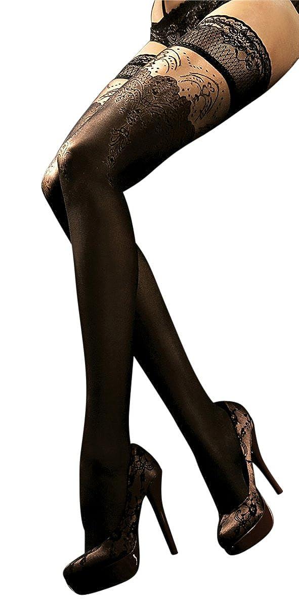 Ballerina Halterlose Damen-Strümpfe, schwarz, Stockings, Spitze, Strapsoptik