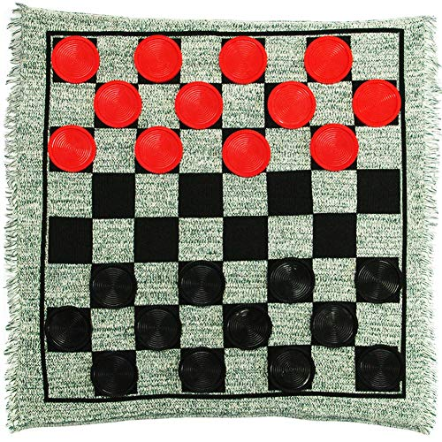 Lulu Home Giant Checkers, 3-in-1 Jumbo Checkers Rug Checkers Board Game with Super Tic Tac Toe Set]()