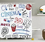 Ambesonne Movie Theater Shower Curtain, Various Hand Drawn Icons on a Notebook Page Style Backdrop Hollywood Fun, Cloth Fabric Bathroom Decor Set with Hooks, 70 Inches, Multicolor