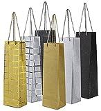 Wine Gift Bags- Single Bottle Wine Alcohol Liquor Spirits Bag - 6 Foiled & Glitter Designs - 6 Piece Set - 4.7 x 3.7 x 15.5 Inches