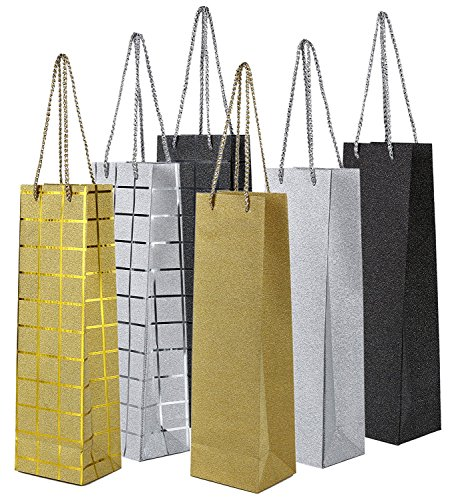 Wine Gift Bags- Single Bottle Wine Alcohol Liquor Spirits Bag - 6 Foiled & Glitter Designs - 6 Piece Set - 4.7 x 3.7 x 15.5 (Glitter Champagne Bottles)