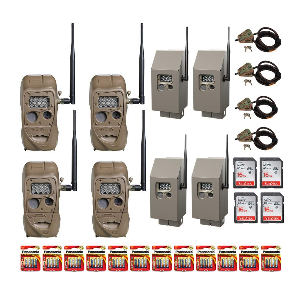 Cuddeback CuddeLink J Series 20MP Long Range IR Trail Cameras 4 Pack 11438 All-in-One Field Kit with Memory Cards, Batteries, CuddeSafe Security Boxes and Cable Locks
