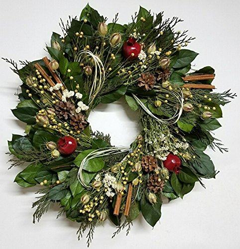 Pomegranates and Cinnamon Holiday Natural Wreath 20 Inch- Decorative Dried Flower Wreath That Will Enhance Your Indoor Home Décor, Grown And Made In USA, Measures True To Size, Makes A Beautiful Gift