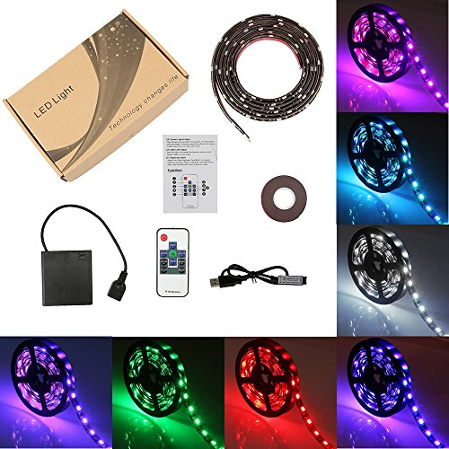 Battery Powered Led Strip Lights Flexible Waterproof LED Light Strip with Remote,RGB SMD 5050 LED Ribbon Light LED Strip Rope Lights Multi Color Changing-2M/6.56ft Black