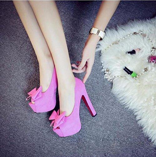 Impermeabile I In Primavera 36 color Sexy Alti Ai Rose Colore Tacchi Spesso Bocca 14Cm KPHY Tavoli Tacchi Pesce Scarpe Rosa SvqXffgwx