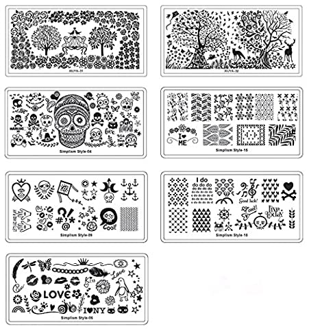 HipGirl Nail Art Large Nailart Polish Stamping Manicure, French Tip Image Plates Accessories Kit Collection (Set#4 - 7 Large Plates (>130 (My Amazon Order So Far)