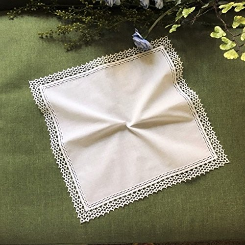 Honeycomb Lace Crochet Wedding Embroidered Handkerchief for Ladies& Bride/White, B609