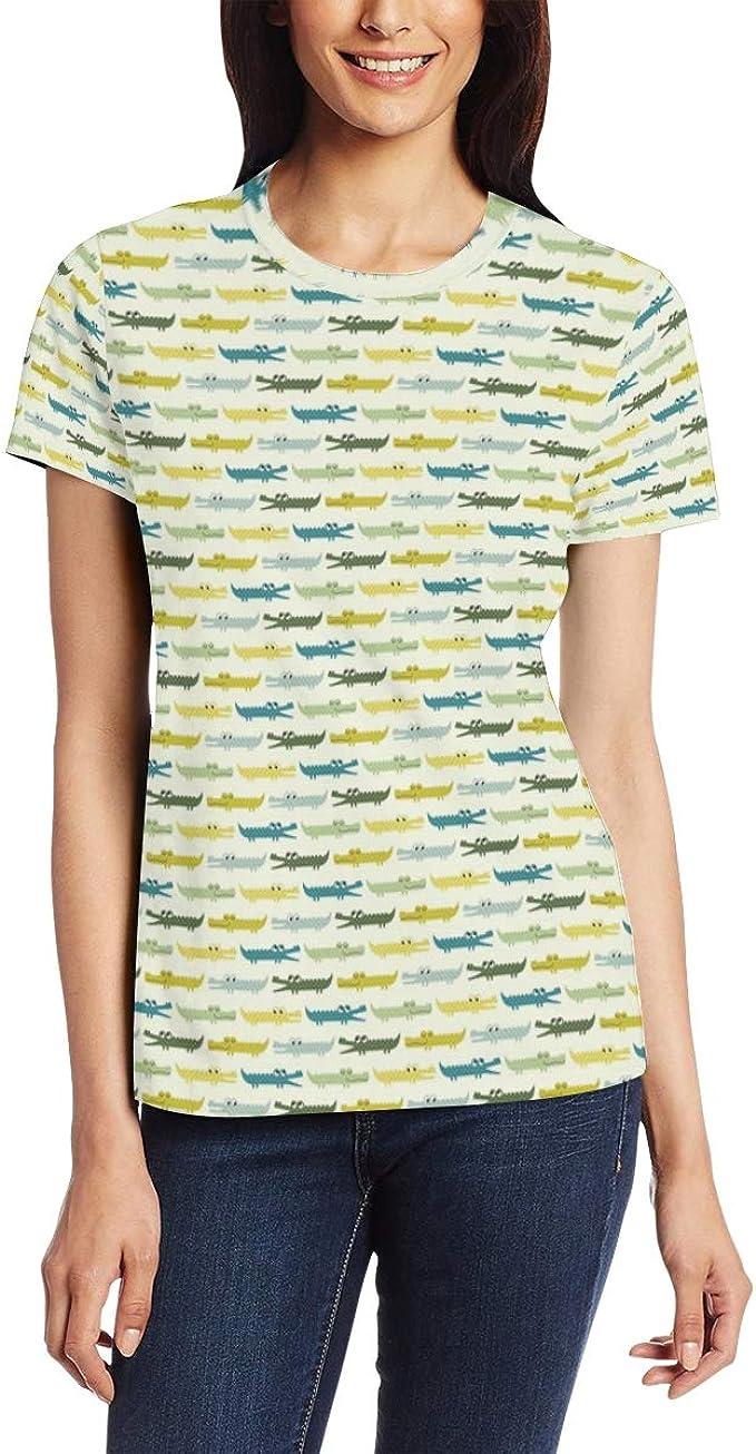 Round Neck Short Sleeve Casual T-Shirt Top Blouse Shirt Aqua