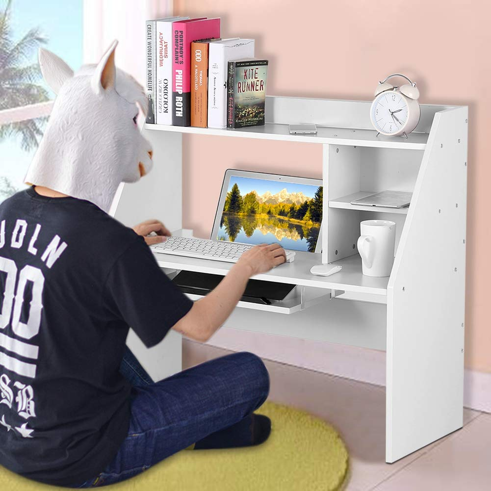 Dwawoo Wooden Storage Shelf, Multifunction Bed Computer Laptop Desk Bed Table for Dormitory Bedroom and More(White) by Dwawoo (Image #4)