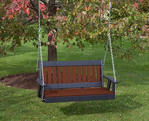 Cheap 5FT-TUDOR BROWN-POLY LUMBER Mission Porch Swing Heavy Duty EVERLASTING PolyTuf HDPE – MADE IN USA – AMISH CRAFTED