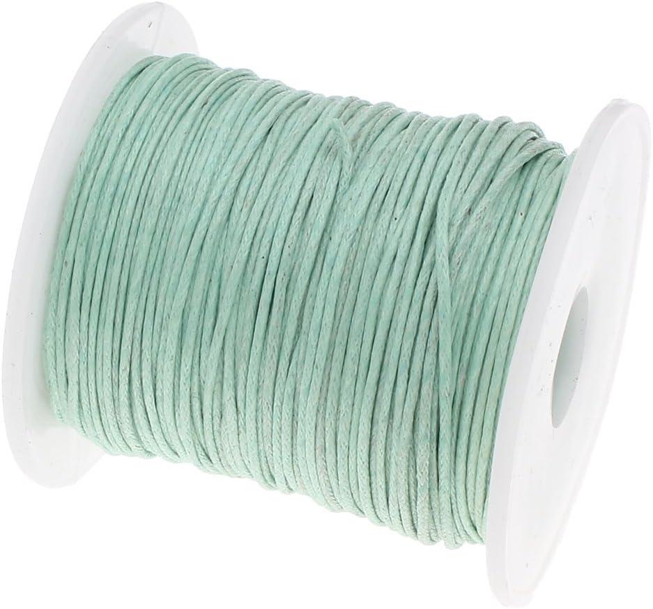75m Baumwollband Baumwollschnur Baumwollkordel 1mm rund gewachst hellgrün