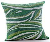 Luxury Green Euro Sham, 26''x26'' Euro Pillow Covers, Beaded Sea Waves Moosonee Euro Pillow Shams, Silk Euro Shams, Striped Contemporary Euro Shams - Moosonee Dance
