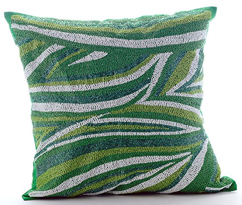 Luxury Green Euro Sham, 26''x26'' Euro Pillow Covers, Beaded Sea Waves Moosonee Euro Pillow Shams, Silk Euro Shams, Striped Contemporary Euro Shams - Moosonee Dance by The HomeCentric