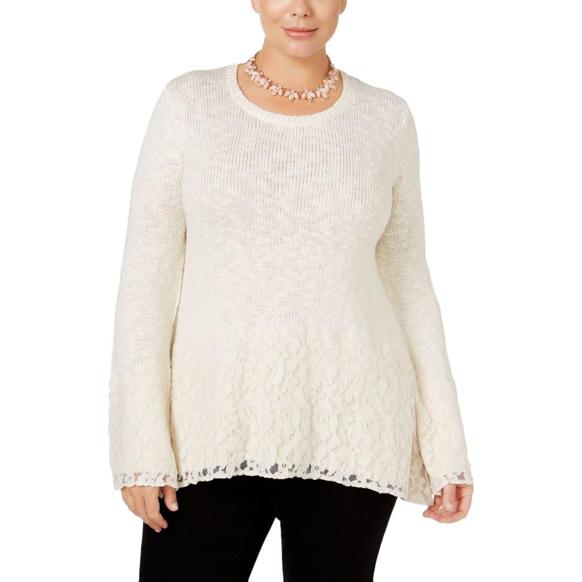 Style & Co.. Womens Plus Metallic Lace Trim Pullover Sweater Ivory 1X