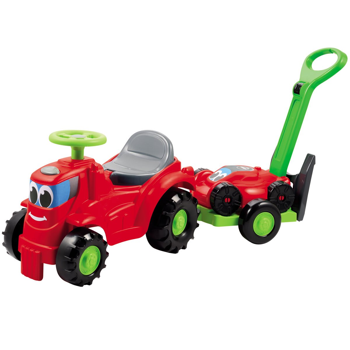 Unbekannt Rutscherfahrzeug Traktor mit Anhänger und Rasenmäher, 103 cm • Kinder Auto Baby Rutscher Rutschauto Kinderfahrzeug Rasenmäher Superpack Siehe Beschreibung