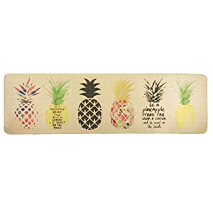 Wolala Home Natural Rubber Non-slip Kitchen Rug and Carpet Fruit Pineapple Comfortable Resist Fatigue Laundry Room Area Rugs Bedside Rug (18''x59'', Pineapple)