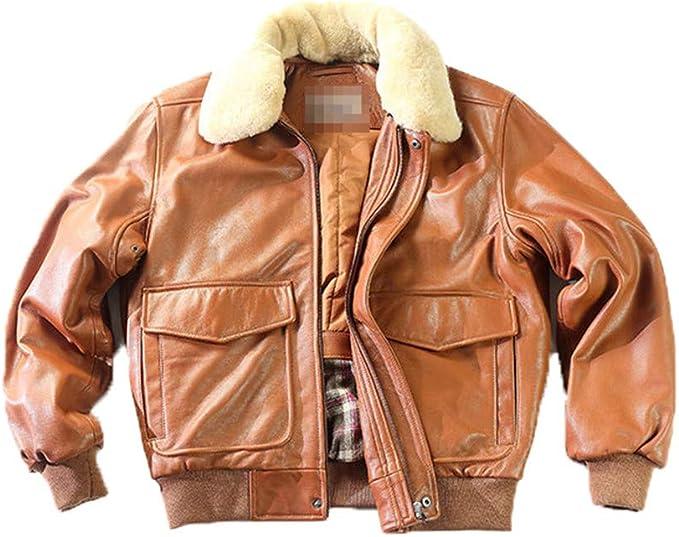 エアフライトジャケットの毛皮の襟、本革のジャケット、男性の冬のコート爆撃機のオートバイのバイカーのジャケット