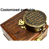 M.A & SONS Antique Brass Pocket Compass with Wooden Box