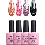 AIMEILI Soak Off UV LED Gel Nail Polish Multicolour/Mix Colour/Combo Colour Set Of 4pcs X 10ml - Kit Set 6