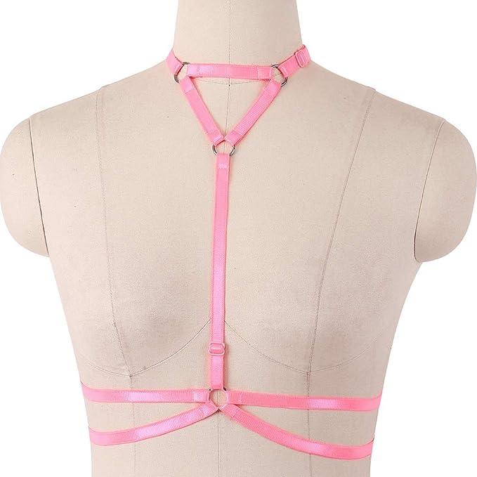 6a617762e13 Body Harness Rivet Elastic Strappy Bralette Fetish Wear Bondage Wear Rave  Bra with Choker (Eraser