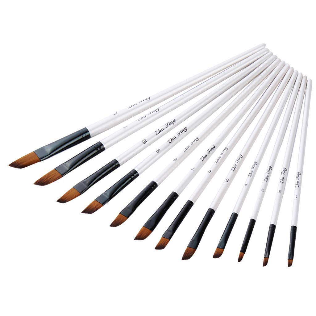 Artist Tool Oil Painting Brushes Watercolor Pen Nylon Hair White Wooden Handle
