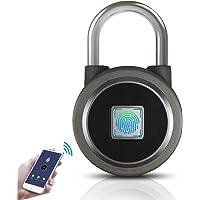 Fingerprint Padlock,Bluetooth Lock Smart Padlock,OMaggie Remote Smart Lock Biometric Keyless Thumbprint Lock Portable…