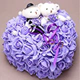 bgblgf M Bride Bear Ring Pillow Rose Love Ring Pillow 2525 cm, Purple, 2525cm