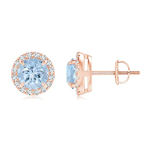 Angara Claw Aquamarine and Diamond Halo Stud Earrings in Rose Gold