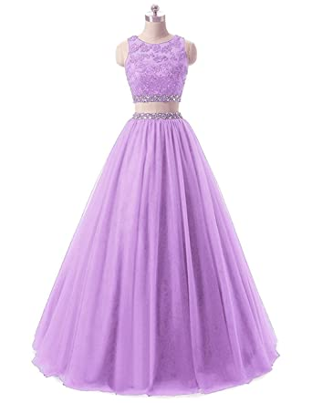 Womens Long 2 Pieces Lace Sequined Evening Party Gowns Beaded Appliques Formal Prom Dresses L266 Lavender