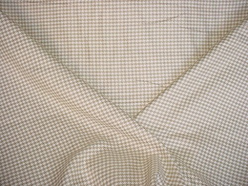 42VV6 - Soft White / Antique Gold Heavy Woven Linen Houndstooth Designer Upholstery Drapery Fabric - By the Yard (Fabric Houndstooth Upholstery)