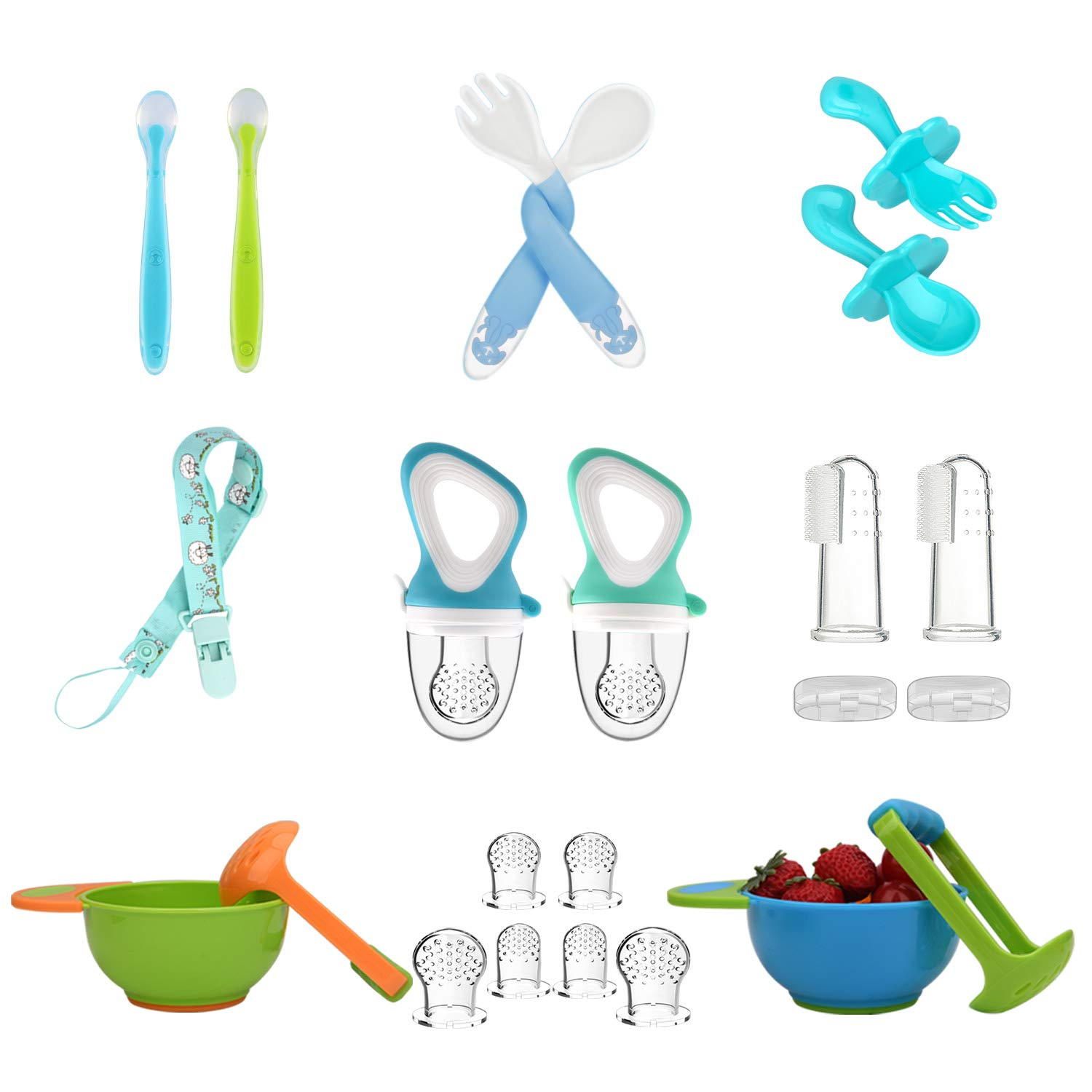 Baby Fruit Feeder Pacifier (2 Pcs) with 6 Silicone Pacifiers Mash and Serve Bowl (2pack) with 6 Baby Spoons Pacifier Clip Baby Finger Toothbrush Infant Fruit Teething Toy Baby Feeding Set
