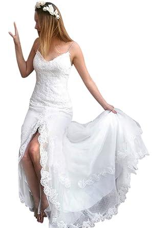 Xjly Elegant Spaghetti Straps Fitted Boho Lace Wedding Dress