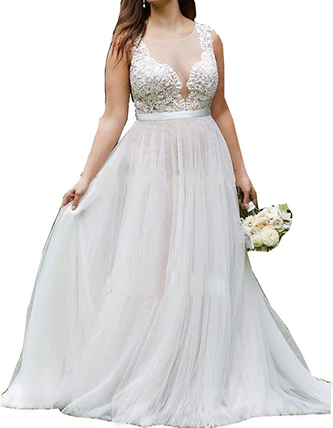 Molixin Women\'s Plus Size Wedding Dresses Bridal Gowns Outdoor Prom Dress
