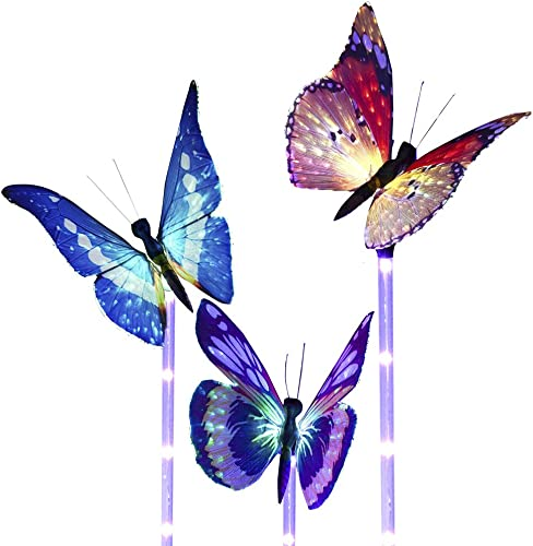 Garden Solar Lights Outdoor ,with a Purple LED Light Stakes Multi-Colored Changing Fiber Optic LED Butterfly Lights for Garden Patio Backyard ,Pack of 3