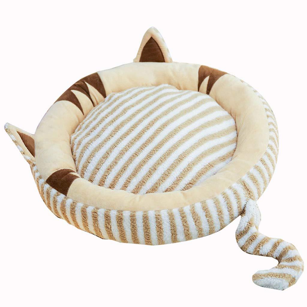 Brown M 65cm Brown M 65cm LITING Kennel Small Dog Cat Litter Winter Warm Seasons Universal Mattress Pet Cat Supplies (color   Brown, Size   M 65cm)