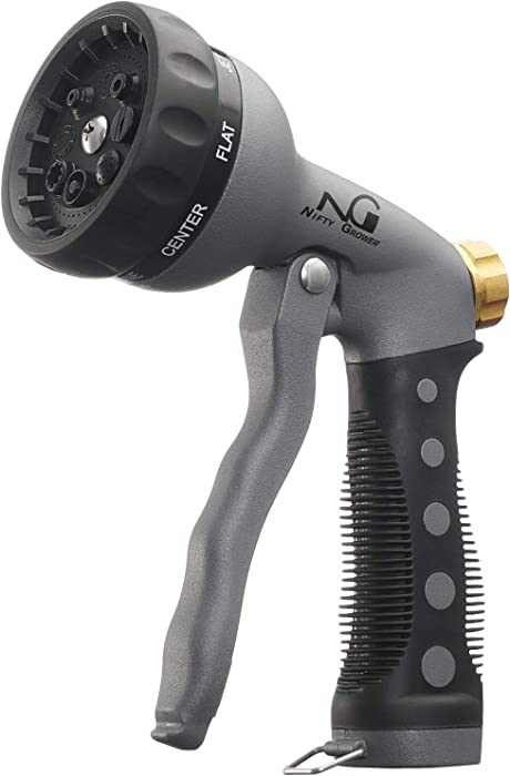 Nifty Grower Heavy-Duty Metal Garden Hose Nozzle - Water Hose Nozzle with 8 Adjustable Watering Patterns