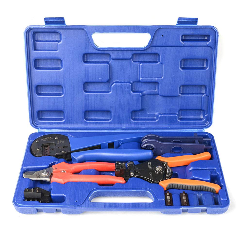 IWISS Solar Crimping Tool Kit with Wire Cable Cutter, Stripper, MC3 MC4 Crimper and MC4 Connectors Assembly and Disassembly Tool Solar PV Panel Tool Kit by IWISS