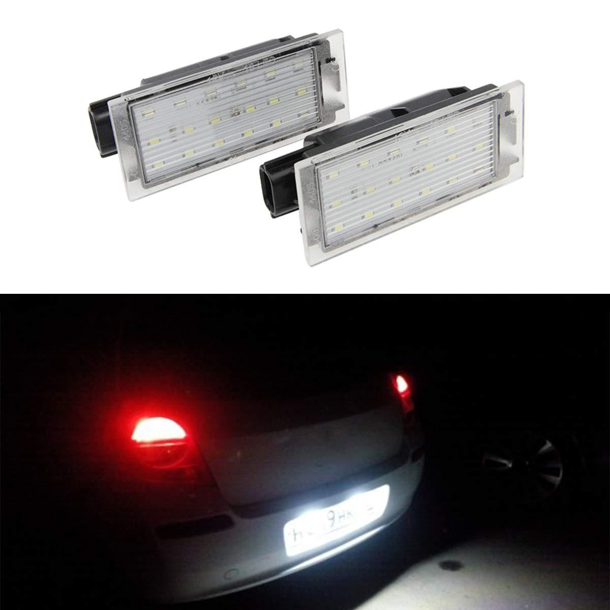GOFORJUMP 2pcs Voiture LED Plaque d'immatriculation lumiè re Lampe de Remplacement de lumiè re Direce pour R/enault Clio Mé gane Twingo II Lagane II5D Vel Satis Maî tre