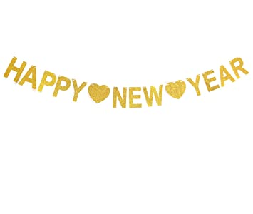 gzfy happy new year 2018 banner gold glitter sign for new years eve party decoration home