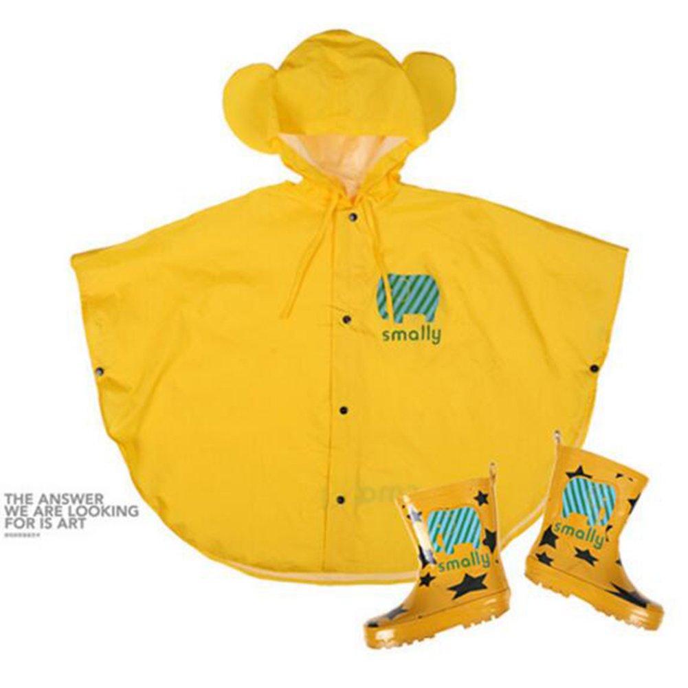 Highdas Bebés y Niños poncho de lluvia con capucha del poncho impermeable 80-100cm Tamaño (S / amarillo)