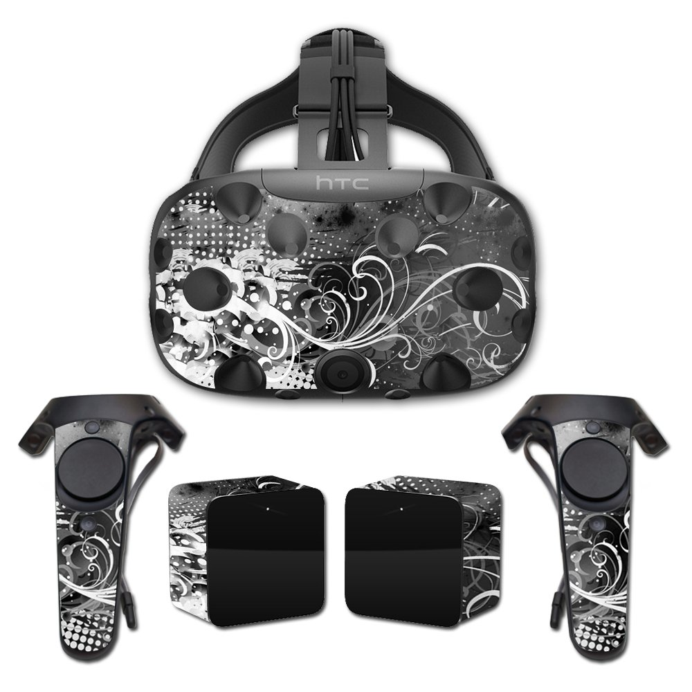 MightySkins Skin For HTC Vive Full Coverage - Black Flourish | Protective, Durable, and Unique Vinyl Decal wrap cover | Easy To Apply, Remove, and Change Styles | Made in the USA