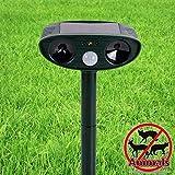 Solar Animal & Pest Repellent | Outdoor Waterproof Solar Sensor Animal & Pest Repeller | Ultrasonic Pulse Frightens Cats Dogs Birds Rodents Deer Raccoons Snakes & Mice Away