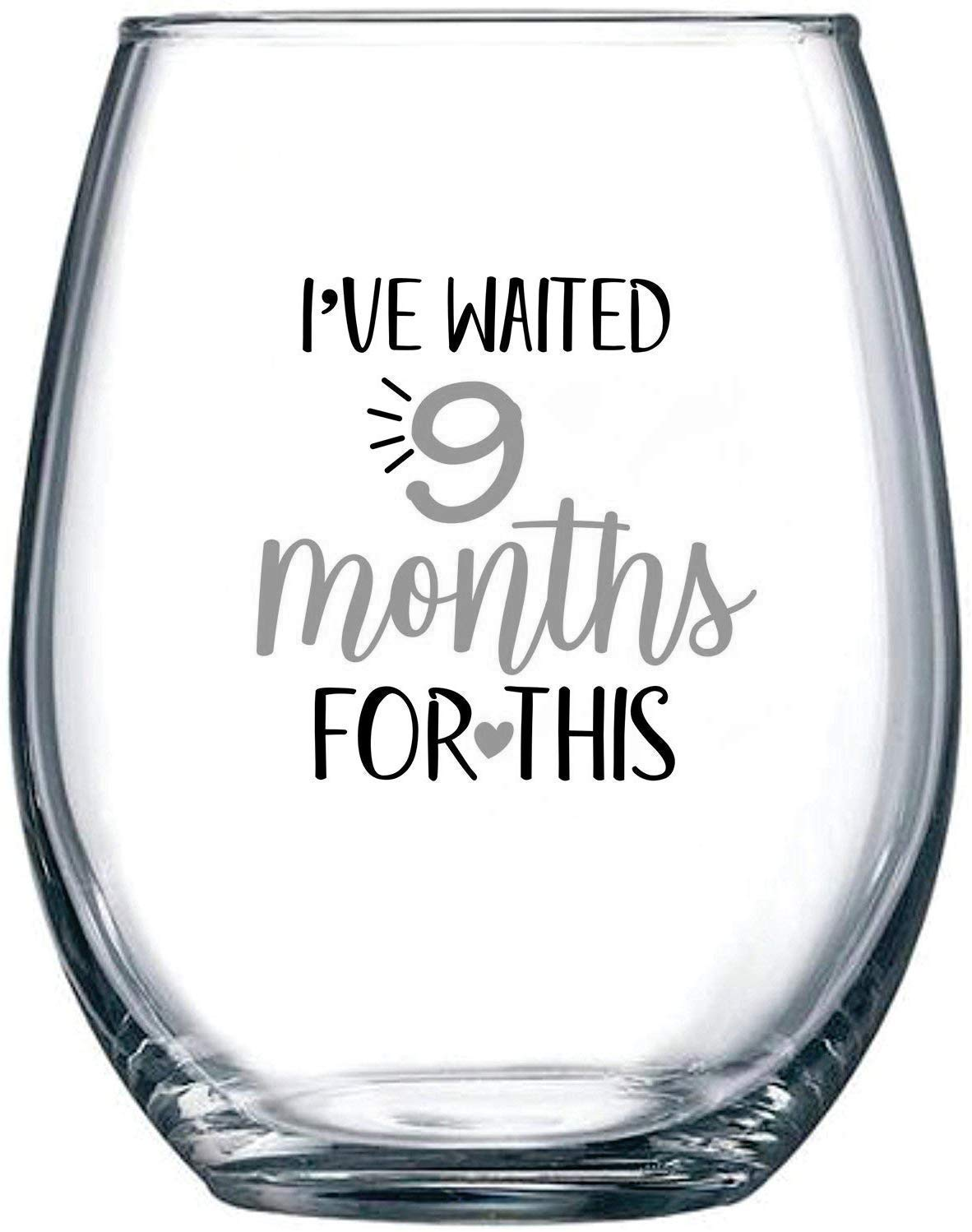 Blue Newborns Expectant Mothers Ive Waited 9 Months for This Mothers Day   Funny Personalized Novelty Stemless Glass Gifts for Expecting Boy Mom Pregnant Women Wine Glass 15oz Birthday