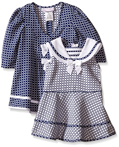 Bonnie Baby Baby Check Jacquard Sailor Collar Dress and Coat Set, Navy, 12 Months (Jacquard Dress Coat)